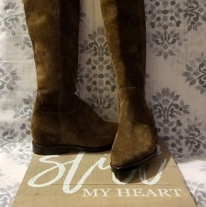 Luxe suede Ash boots styled with a petite cutout